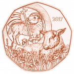 5 Euro copper coin, Easter lamb