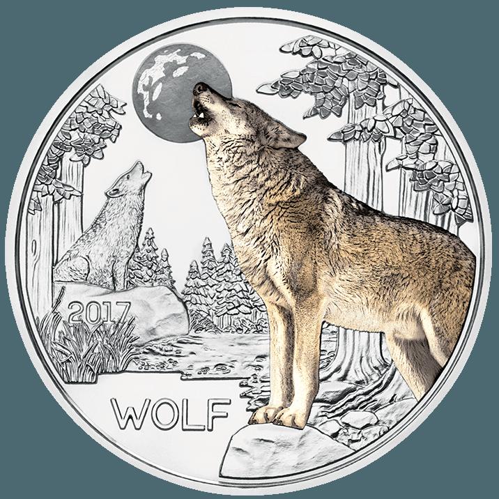 3 Euro Tier Taler Der Wolf Bunte M 252 Nzen Mit Leuchteffekt