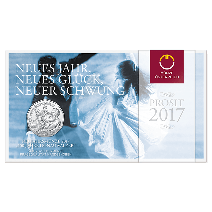 5 Euro Kupfermünze 150 Jahre Donauwalzer