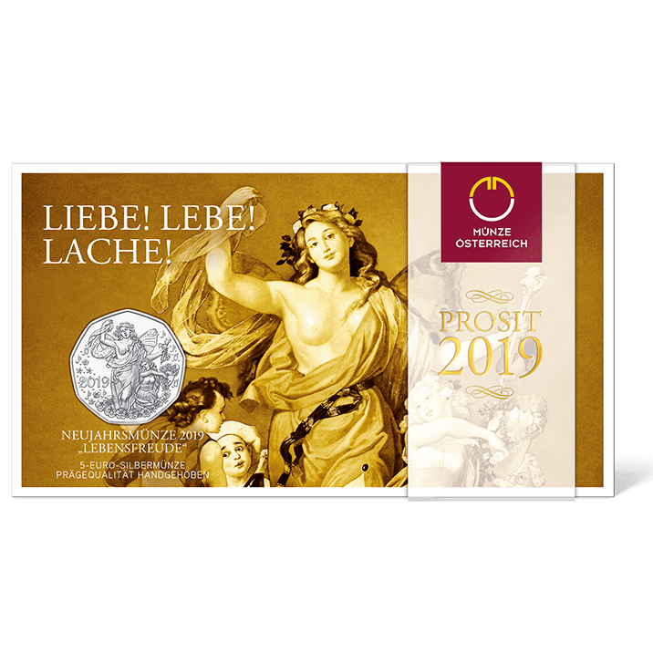 Silbermünze Neujahrsmünze 2019 Lebensfreude