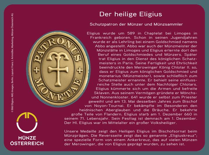 Schutzpatron Der Münzsammler Medaille Der Heilige Eligius Patiniert