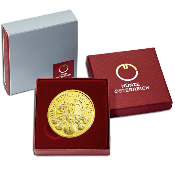 Vienna Philharmonic 1 Ounce Fine Gold 9999 Plus Packing