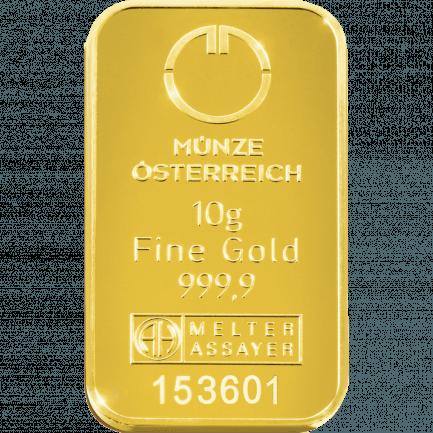 10 Gramm Kinebar Goldbarren Der Münze österreich Ag