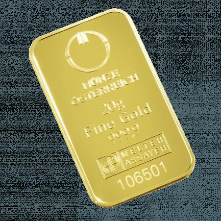 20 Gramm Prägebarren Goldbarren Der Münze österreich