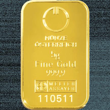 5 Gramm Kinebar Goldbarren Der Münze österreich