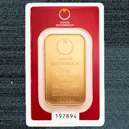 50 Gramm Goldbarren Prägebarren Der Münze österreich