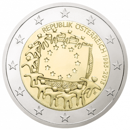 2 Euro Sondermünze 30 Jahre Europaflagge