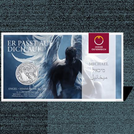 Michael Der Schutzengel 10 Euro Silbermünze Handgehoben