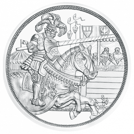 Knights Tales Chivalry Silver coin 2019 Austria With Chain Chirt and Sword Proof
