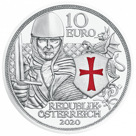 2020 10 Euro Austria Knights Tales Silver Proof Coin Courage Knights Templar