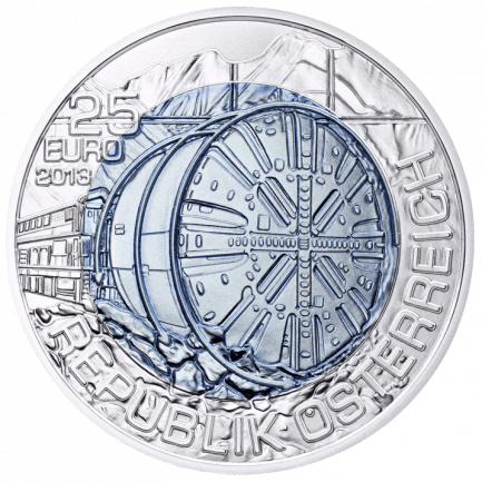 25 Euro Silber Niob Münze 2013 Tunnelbau