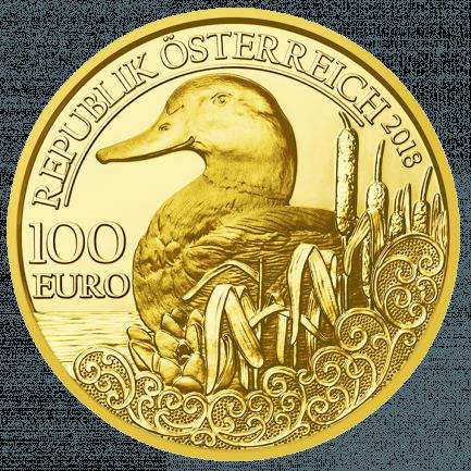 100 Euro Goldmünze Stockente Unseren Wildtieren Auf Der Spur