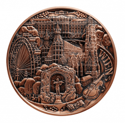 Große Wienmedaille 70 Mm Aus Kupfer Patiniert Von Münze österreich