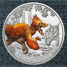 Deinonoychus 2021 3-Euro Münze der Serie Supersaurier Reversseite