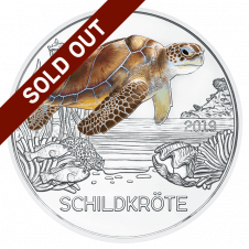 3 euro coin colourful creatures 2019 the turtle sold out