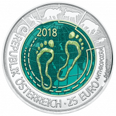 Silver niobium coin Anthropocene