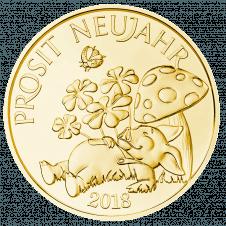 Glücksjeton 2018, Silber vergoldet, Avers