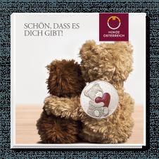 Teddybär-Medaille Freundschaft Rot