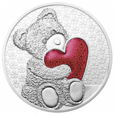 Teddy Bear Medal Red with diamonds