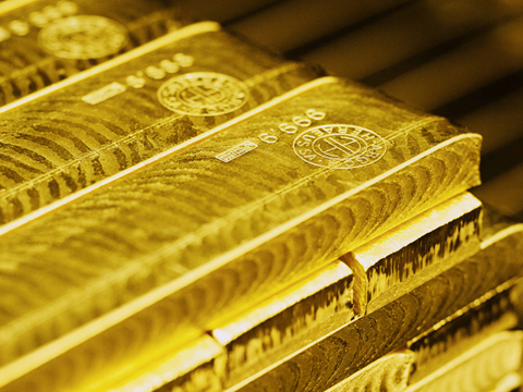 Goldbarren-Stapel