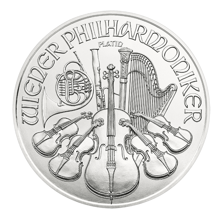 1^oz Vienna Philharmonic Platinum reverse