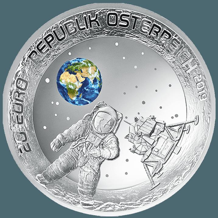 20 euro silver coin Moon landing 2019 averse