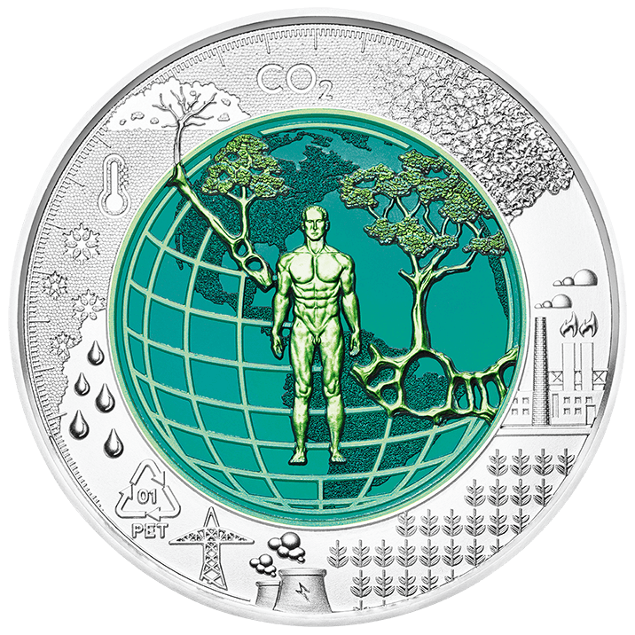2018 silver niobium coin Anthropocene