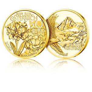 3D coin picture high peaks 50 euro gold coin