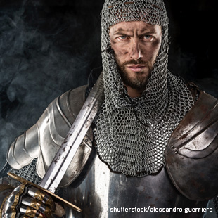 with chainmail and sword